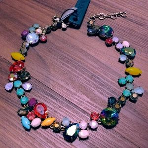NWT Crystal foliage iridescent colorful necklace